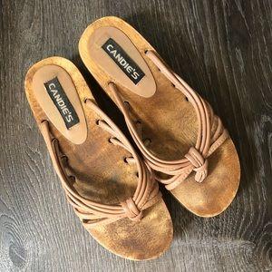 Vintage Candie's Leather & Wood Sandals